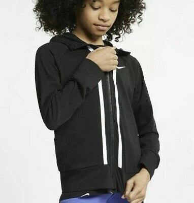 NIKE Big Kids Girls NSW Full Zip Hoodie Black White AQ9051 010 MSRP$40-Med New