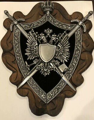 Large Vintage Medieval Cast Metal Two Headed Eagle Coat Of Arms Crest Plaque