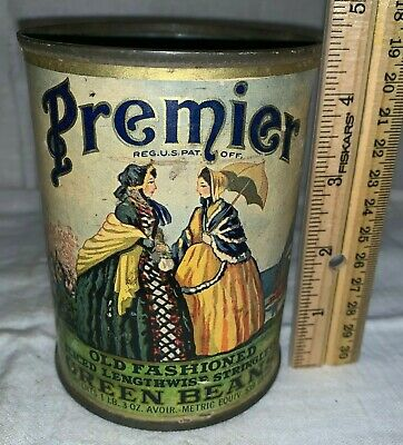 Antique Premier Green Beans Country Store Food Can Vintage Victorian Ladies Tin