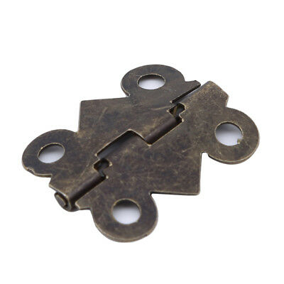 Small Antique Bronze Color Butterfly Hinges Fairy Door Wooden Box L