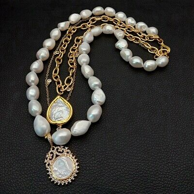 Freshwater White Baroque Pearl Chain Layered Necklace Pearl Mop Charm