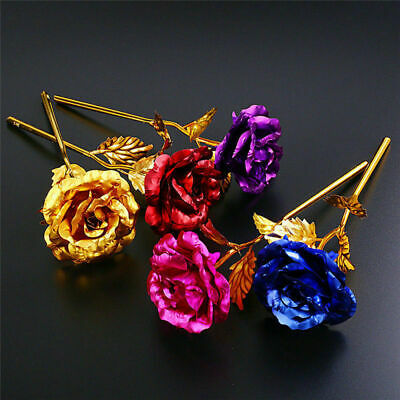 UK 24k Gold Plated Rose Flower Anniversary Mothers Day Girlfriend Romantic Gift