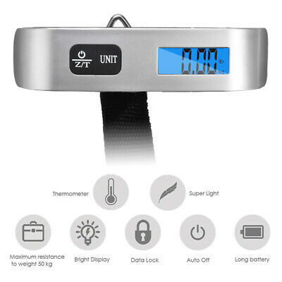 50kg Handheld Travel Tare Hanging Digital Suitcase Luggage Weight Scale Kit