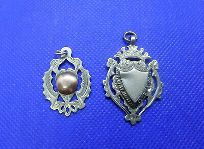 2 x Antique Sterling Silver Fob Pendants