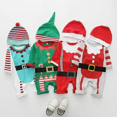 Christmas Clothes Baby Rompers Boy Girl Kids Romper Hat Cap Set Santa Claus New