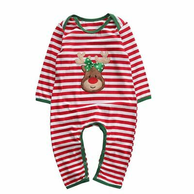 Christmas Baby Girls Boy Clothes Newborn Infant Striped Romper Kids Xmas Costume