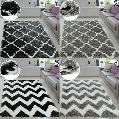 Moroccan Trellis Shaggy Rugs Plush Fluffy Area Rug Black & Grey Small Large Size