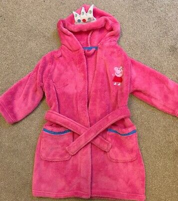 Girls Pink M&S PEPPA PIG Hooded Dressing Gown Robe with Crown Age 2-3 Years