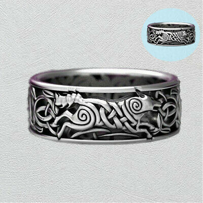 Ring Wolf Men's Wedding 925 Silver Vintage Engagement Celtic Band Knot Jewelry