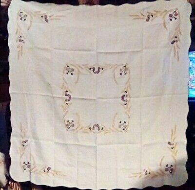 """Vintage Hand-Embroidered Tablecloth; White w/Purple Daisies & Wheat; 48"""" Square"""