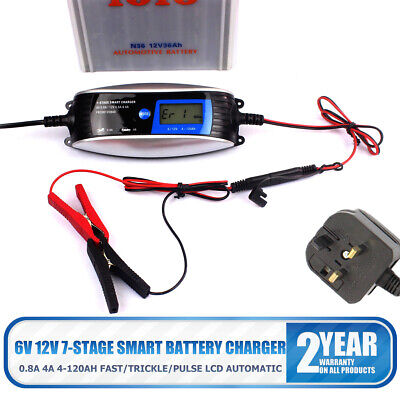 6V 12V Electronic Automatic Smart Fast Trickle Car Van Battery Charger LCD 4 Amp