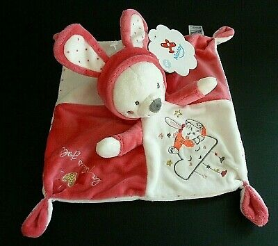 *- Doudou Plat Nicotoy Gemo Chat Capuche Oreille Lapin Rose Blanc Fluo - Neuf
