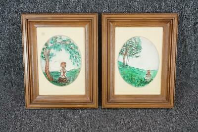 Set Of Two Hand Painted Girl In Meadow Portrait On Oval Ceramic Framed