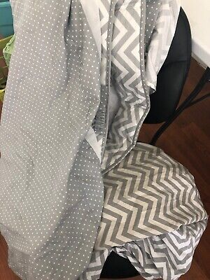 Gray And White Chevron Crib Sheet, Bed Skirt, And Bumper