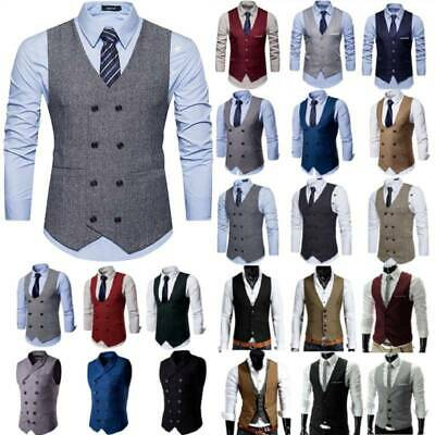 Mens Double Breasted Herringbone Tweed Peaky Blinders Work Formal Vest Waistcoat