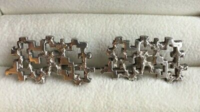 Superb Pair of French Sterling Silver Mid Century Modern Cufflinks circa 1965