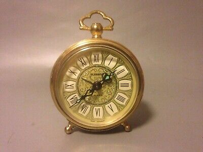 Vintage West German Blessing Brass Filigree Clock Mechanical Alarm Vintage
