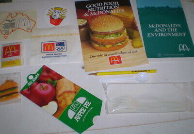 Old store items from McDonalds - books, sticker, key ring, pie box-  Circ 1992