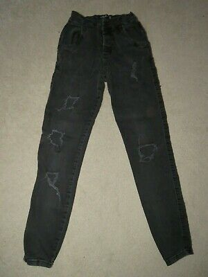"Boy's SikSilk Skinny Ripped Jeans Charcoal - Size XS W28"" L27"" Freshly laundered"