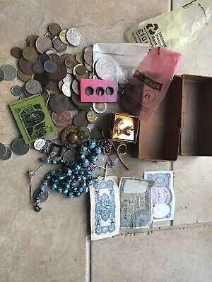 Old Box Collectable Coins, Jewellery, Crowns, Banknotes, Stamps, Badges, Job Lot