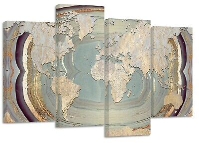rustic world map textured marble split canvas prints on wooden bars