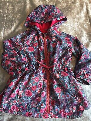 mothercare girls 3-4 raincoat pink floral ditsy  hooded fleece lined zips pocket