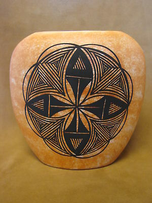Native American Acoma Pot Hand Painted by S. Salvador PT0073