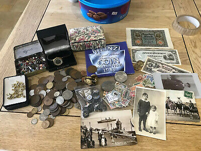 1983 Proof Coins Costume Jewellery Coins Postcards Brooches Watch Stamps Job Lot