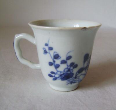 C.18th Chinese Porcelain Coffee Cup Blue & White Flowers: Shaped Handle:  A/F