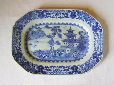 C18th ChineseExport  Rectangular Blue & White Plate: 25 cm : A/F