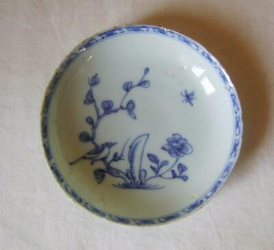 C.18th Chinese Blue & White Porcelain Tea Saucer Dish : Bird in a Branch: a/f