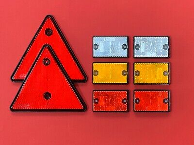 "Set of Reflectors ""2 Red Triangle & 6 Self-Adhesive Rectangle"" Driveway/Post etc"