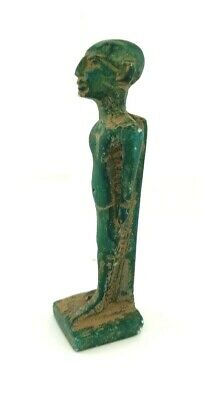 Priest statue Egypt Egyptian Ancient Amulets Antique Antiquities Green Sculpture