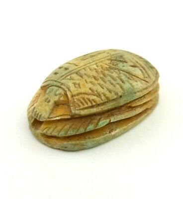 Rare Beetle Scarab Sculpture Khepri Egyptian Antique Amulet Hieroglyphic Craft