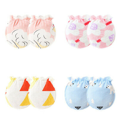 3 Pairs Infant Baby Girl Boy Anti Scratch Mitts Cotton Cute Mittens Gloves