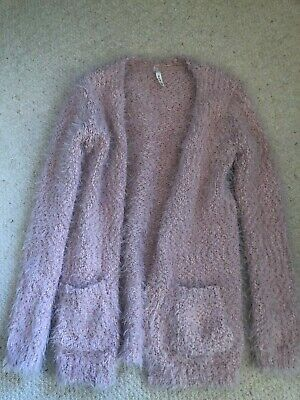 Girls Pink/Rose Gold Fluffy Long Cardigan - Age 9-10 Years