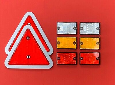 "Reflector Set ""2 White Edge Red Triangle & 6 Self-Adhesive Rectangle"" Driveways"