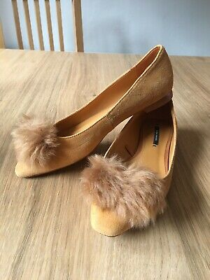 Girls Zara Shoes UK 2 Mustard Pom Pom Ballet Suede Party Special Occasion