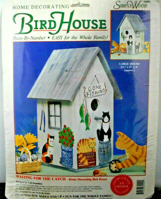 Simply Wood Bird House Paint By Numbers Kit Waiting For The Catch Large NEW