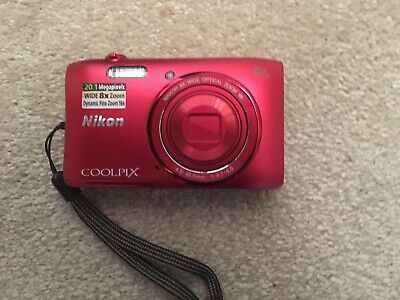 Nikon COOLPIX S3600 Digital Camera - Red, with case and USB cable