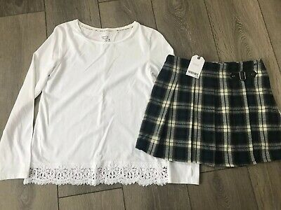 Girls Next Top And BNWT Checked Next Skirt Age 11-12 Years