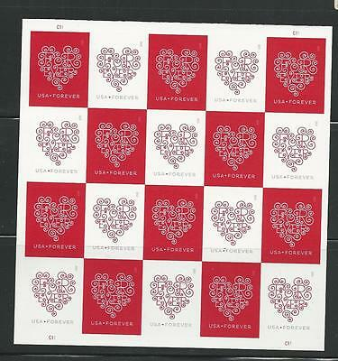 2015 #4955-4956 Imperf Love - Forever Hearts Pane of 20 Without Die Cuts MNH
