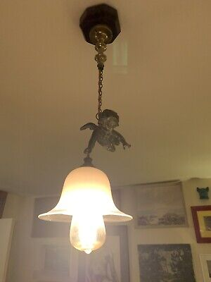 Single French Bronze / Brass Antique Cherub Chandelier Hanging Pendant Light