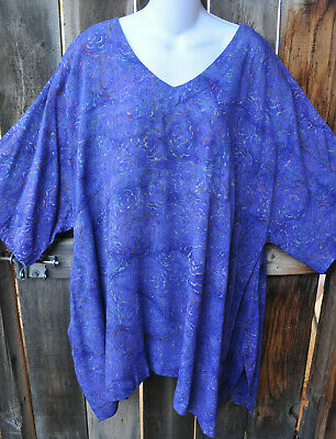 "Art To Wear 210+ Lagenlook Tunic In Blueberry By Mission Canyon, 62""B, Os+!"