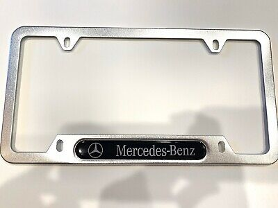Mercedes Incursive Style Stainless Steel License Plate Frame Rust Free W// Caps