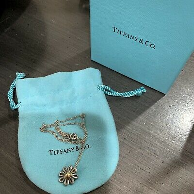 Tiffany & Co Picasso Silver Gold Daisy Flower Pendant Necklace With Bag And Box