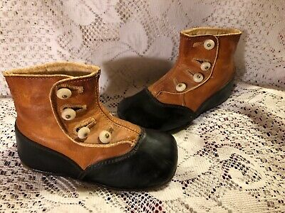 Antique Victorian Two Tone Tan And Black Button Up Baby Shoes~Boots