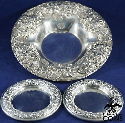 Lot of 3: S. Kirk & Son Sterling Silver (.925) Floral Repousse Trays #10 & #13