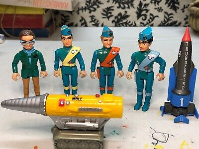 ⭐️MATCHBOX Thunderbird SET OF 4 figures, MOLE VEHICLE AND DICAST 1 ROCKET SHIP⭐️