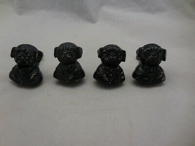4 Gentleman Dog Pug Drawer Pulls Knobs Shabby Chic